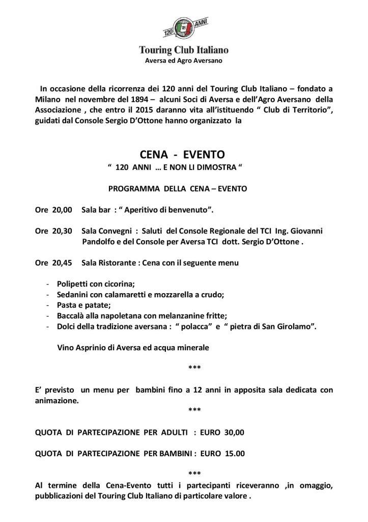 CENA EVENTO 7 NOVEMBRE 2014  TCI